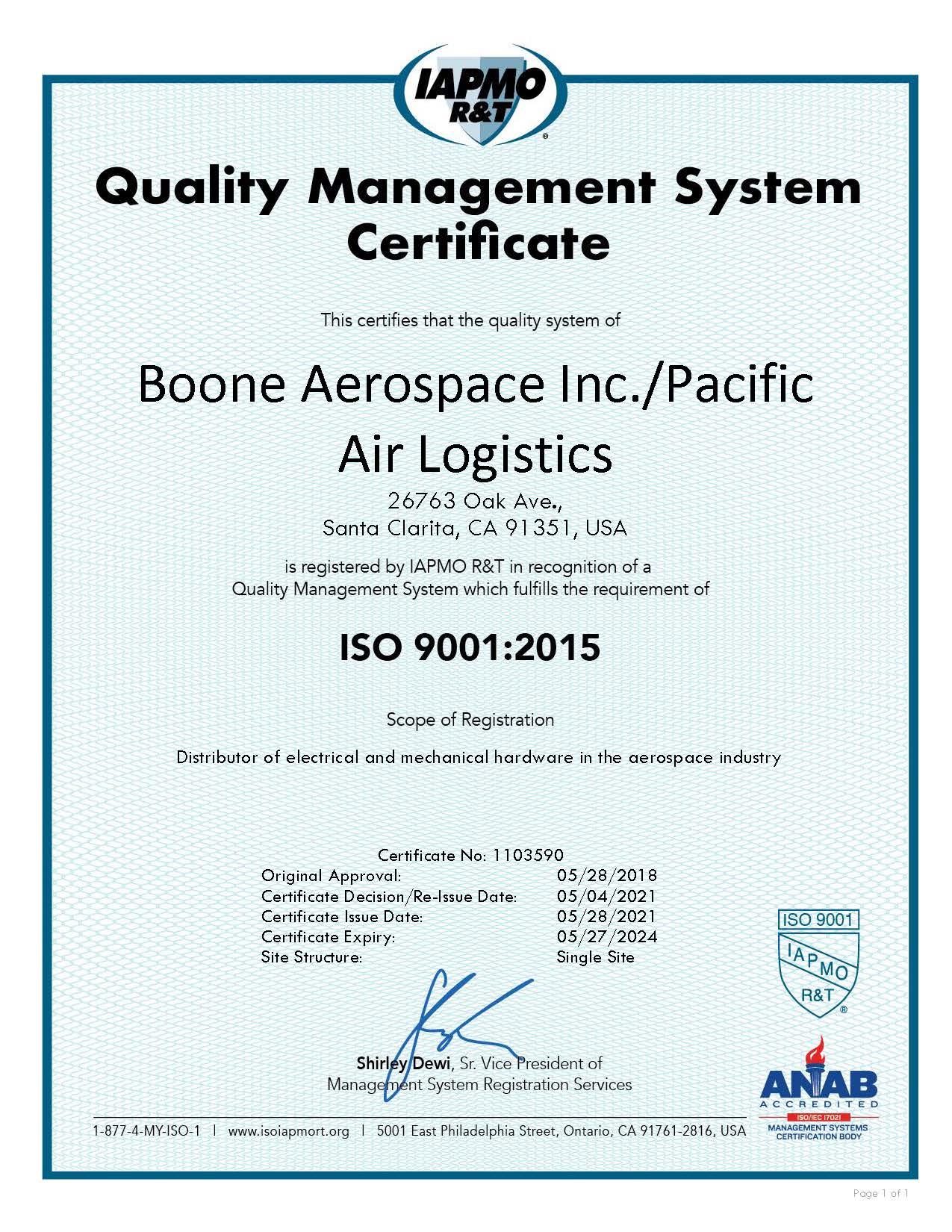 Boone Aerospace_Pacific Air Logistics ISO 2024